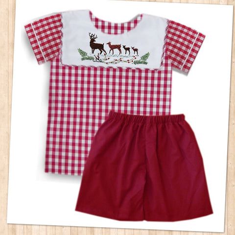 Deer Following Red Check Boys Short Set - PRE SALE SHIP BY BEGINNING OF NOVEMBER