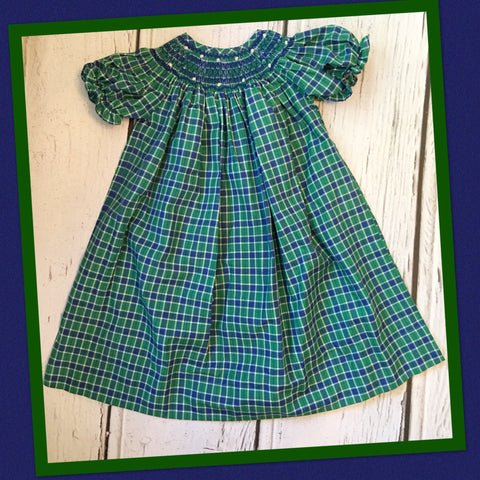 Blue and Green Plaid Smocked Bishop Dress