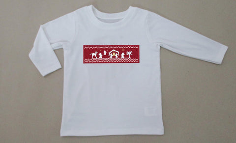 White and Red Nativity Smocked Boys Tee - PRE SALE SHIP BY BEGINNING OF NOVEMBER