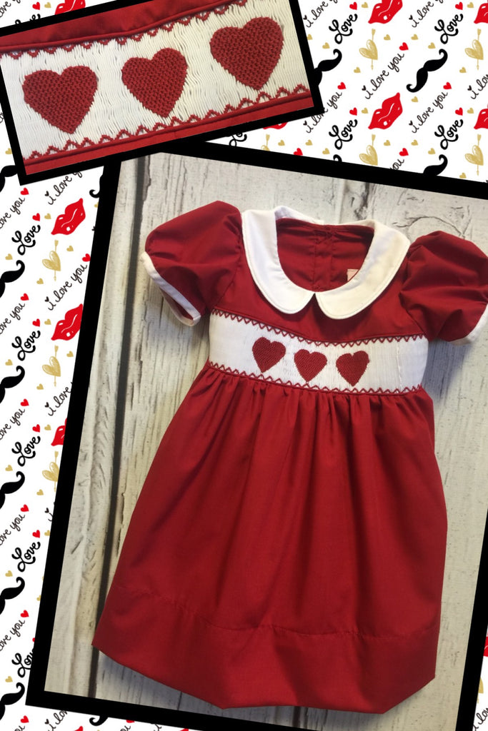 Heart  Red Smocked Collar Dress