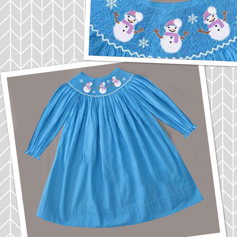 Blue Dot Snowman Long Sleeve Dress - PRESALE SHIPPING BY END OF OCTOBER