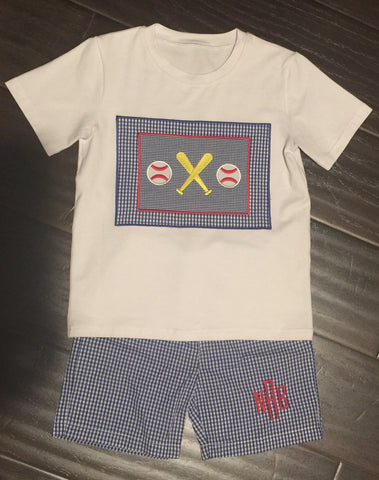 Boys Baseball Bat Blue Check Short Set