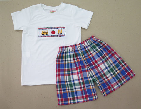 Bus and Apple Plaid Smocked Boys Short Set 18