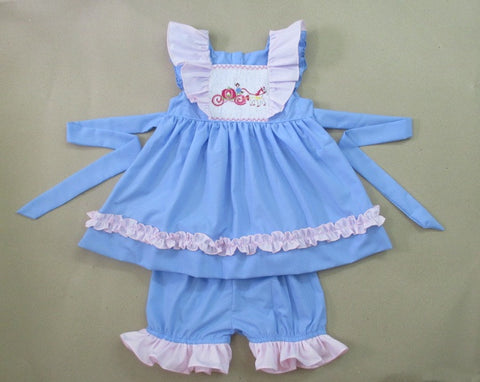 Princess Carriage Smocked Bloomer Set