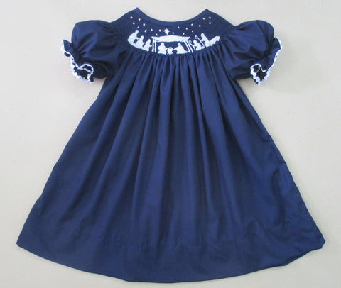 Navy Nativity Bishop Dress