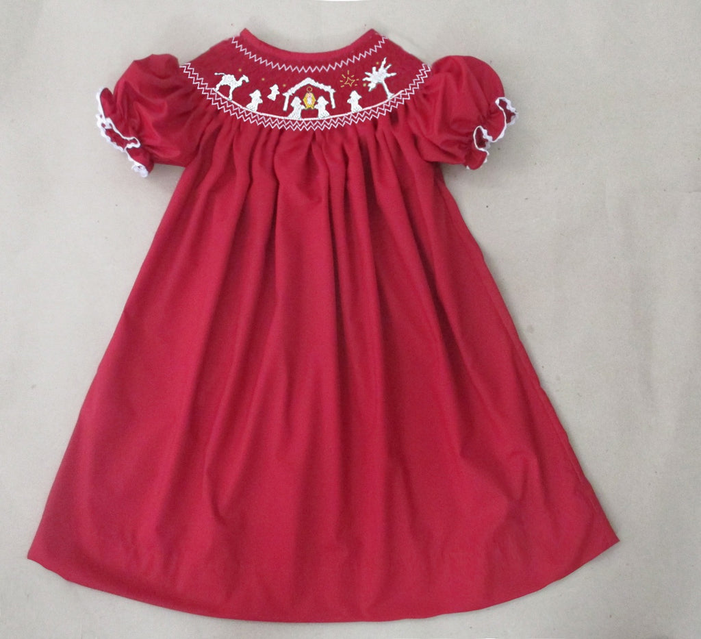 Red Nativity Bishop Dress - Ready to Ship