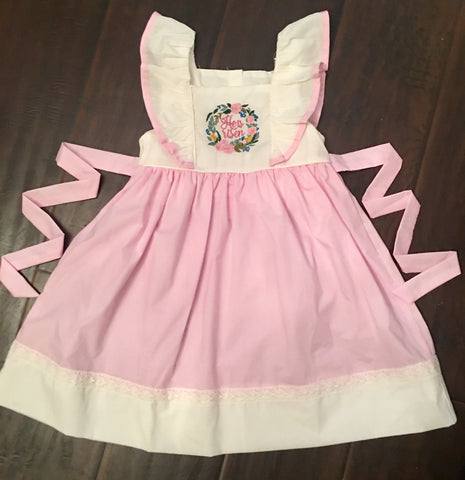HE IS RISEN PINK TIE BACK DRESS