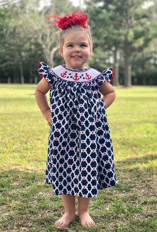 Anchor Quatrafoil Angel Sleeve Smocked Dress