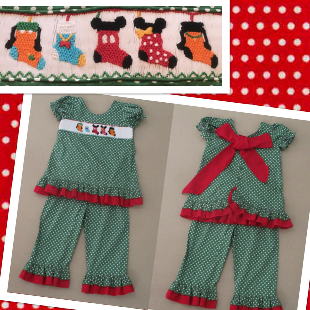 Christmas Mouse Friends Smocked Pant Set