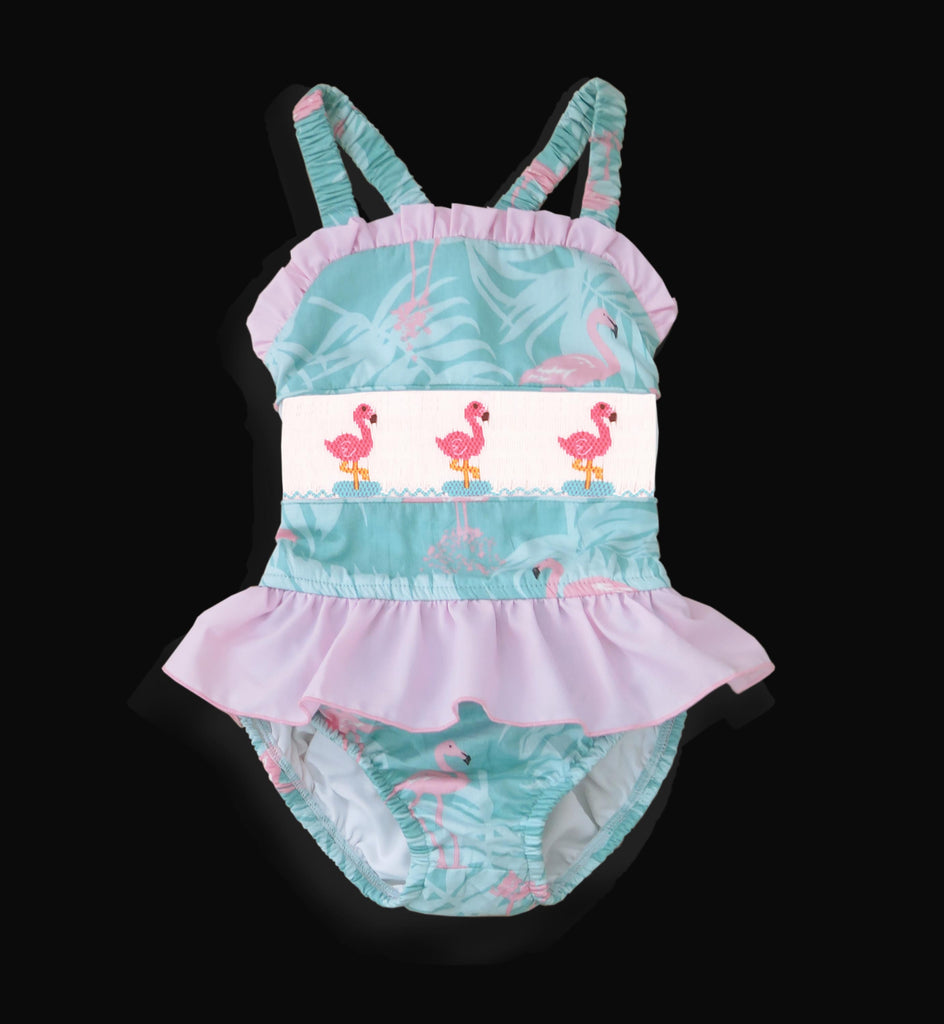 Flamingo Smocked Gils One Piece Swim Suit