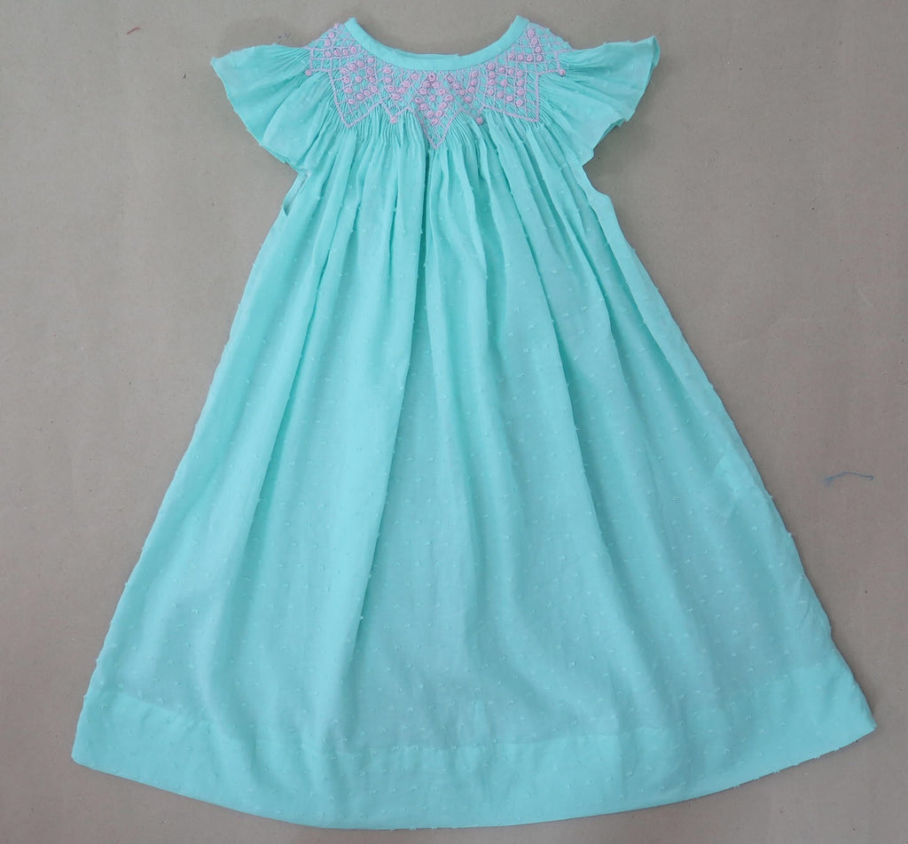 Mint Swiss Dot Smocked Dress