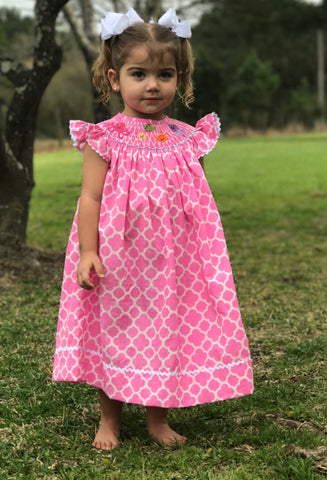 Pink Quatrafoil Sea Creature Smocked Dress