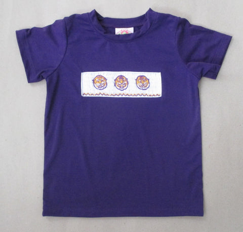 Purple Tiger Smocked Tee