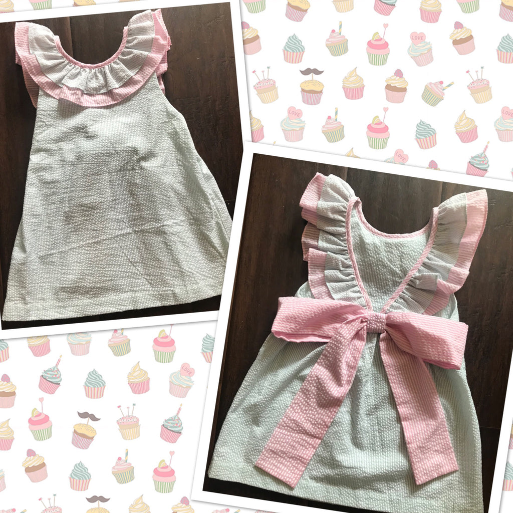 Mint & Light Pink Seersucker V Back Dress  Ready to Ship