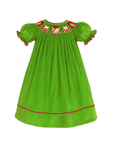 Green Cord Smocked Present Bishop  - PRESALE SHIPPING BY END OF OCTOBER