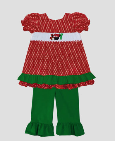 JOY Mickey Girls Pant Set Smocked - PRE SALE SHIPS BY BEGINNING OF NOVEMBER