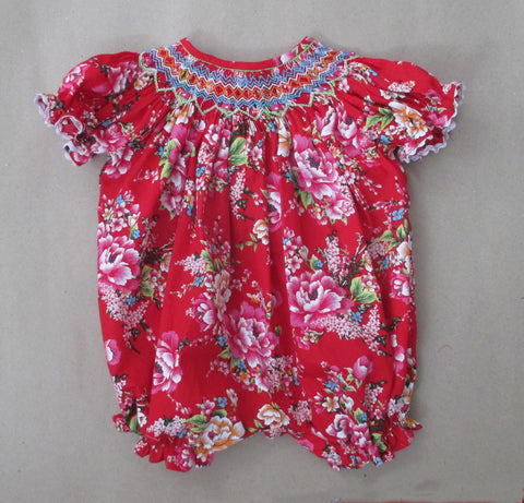 Red Floral Smocked Bubble