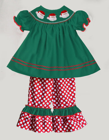 Santa Smocked Green and Red Pant Set  - PRESALE SHIPPING BY END OF OCTOBER