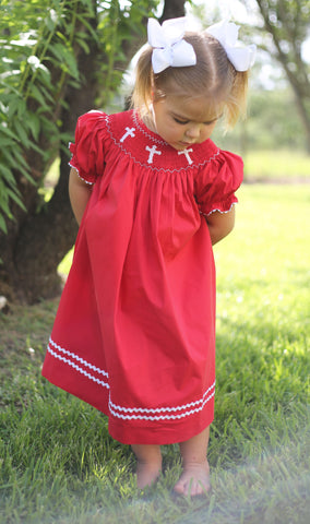 Cross Red Bishop Dress -