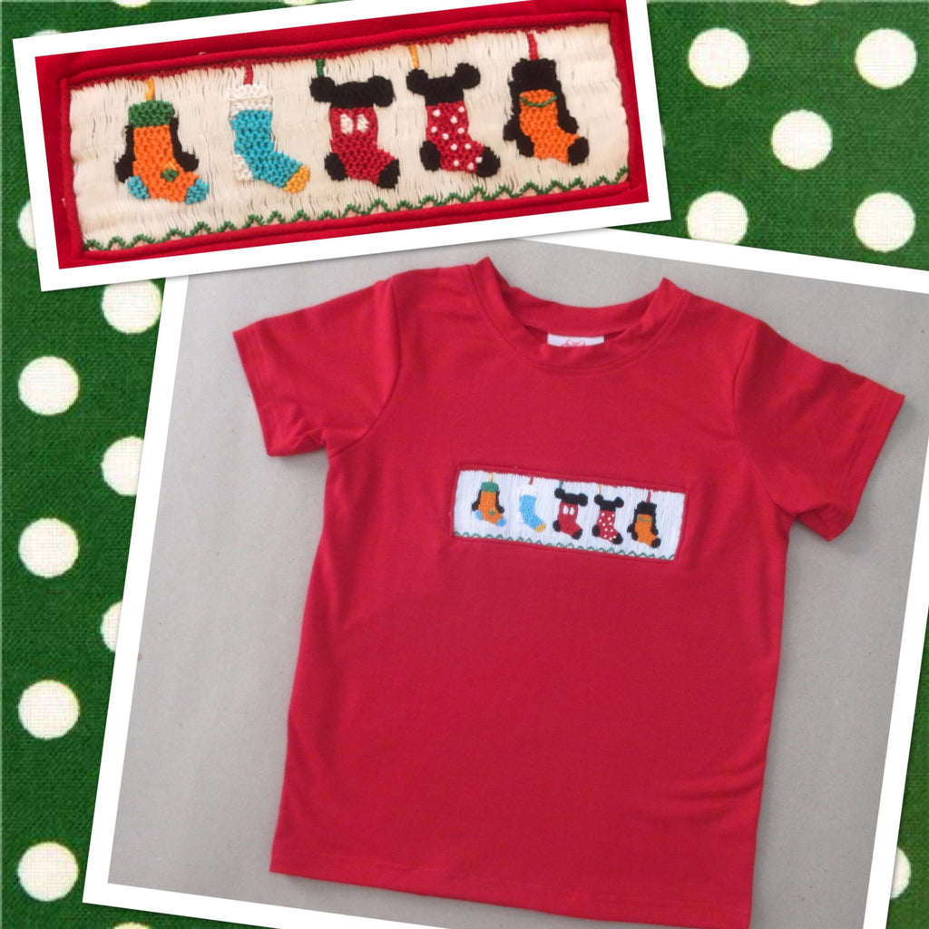 Christmas Mouse Friends Smocked Tee Shirt