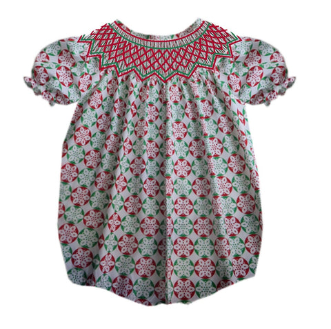 Christmas Circle Geometric Red and Green Smocked Bubble - PRE SALE SHIP BY BEGINNING OF NOVEMBER