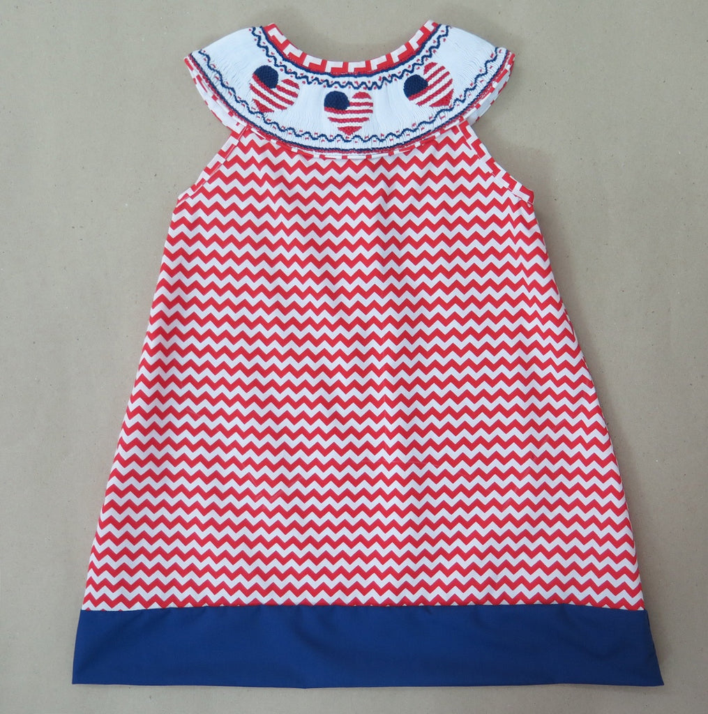 American Heart Red Chevron Smocked Dress