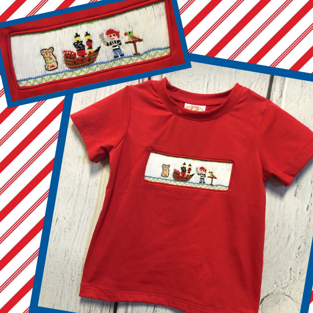 Pirate Smocked Red Tee