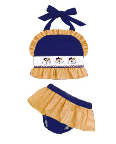 Navy & Orange Tiger Two PIece Swim Suit