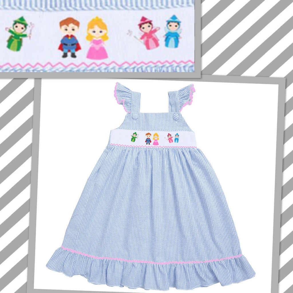 Sleeping Beauty Inspired Seersucker Smocked Dress