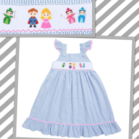 Sleeping Beauty Inspired Seersucker Smocked Dress- PRE SALE SHIPS BY BEGINNING OF MARCH
