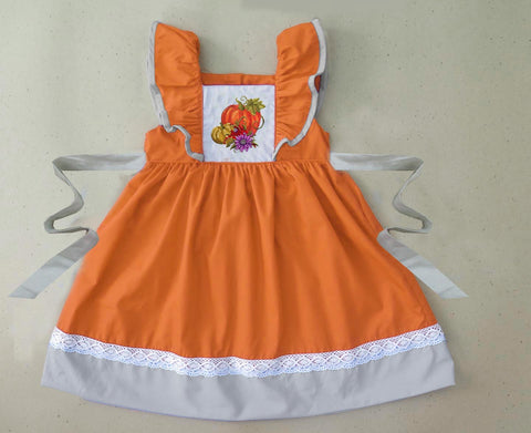 Pumpkin Embroidered Tie Back Dress