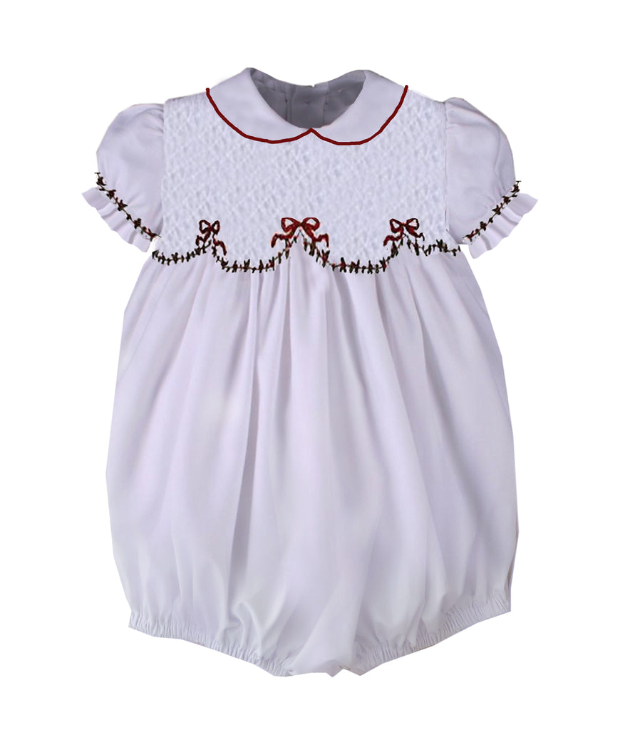White Smocked Holiday Bow Bubble - Ready to Ship