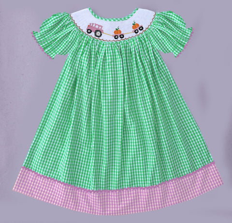 Pumpkin Tractor Check Smocked Dress