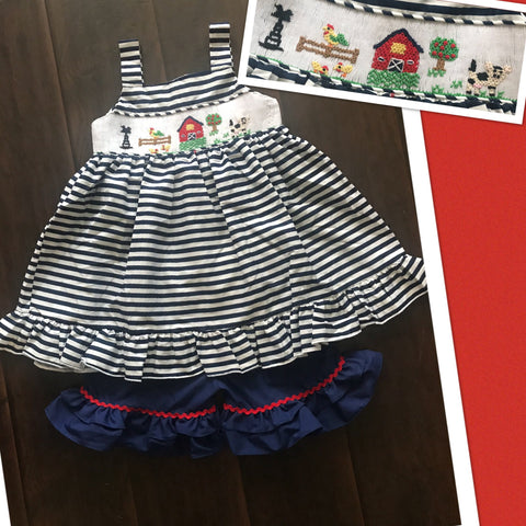 Navy Sleeveless Summer Farm Smocked Short Set
