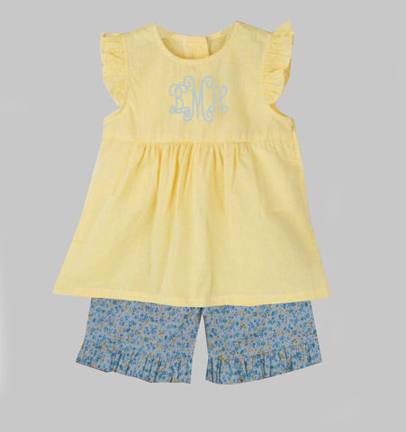 Yellow & Blue Floral Short Set - Ready to ship