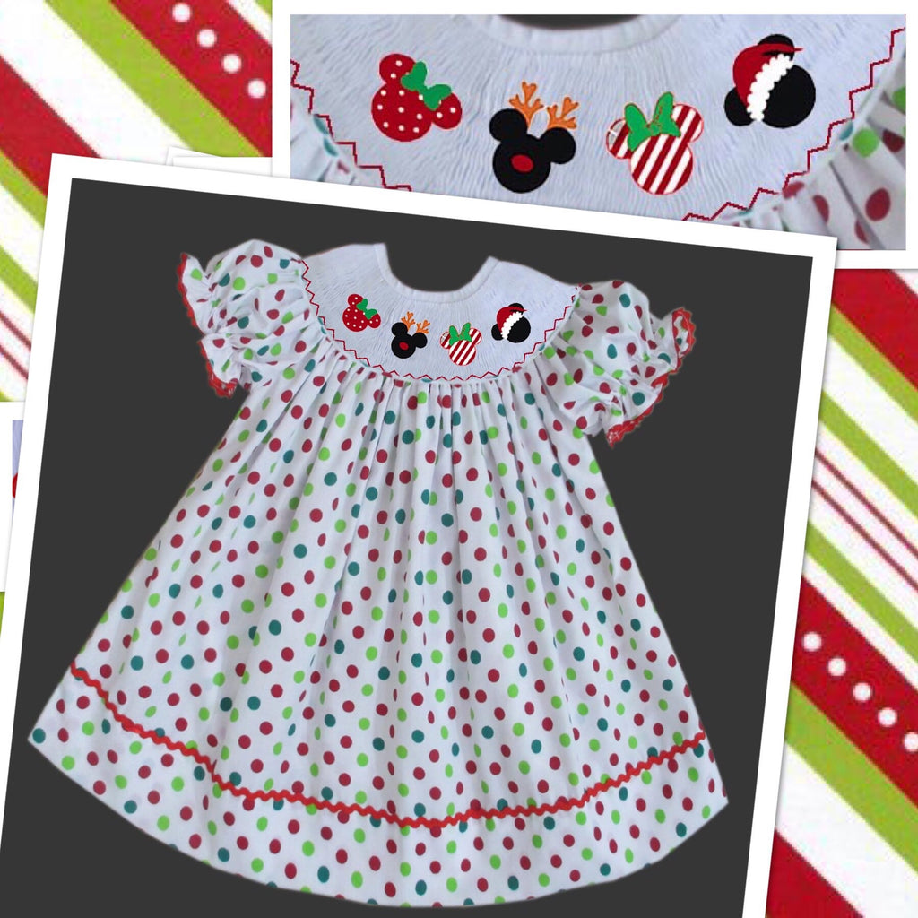 Mouse Christmas Head Smocked  Bishop