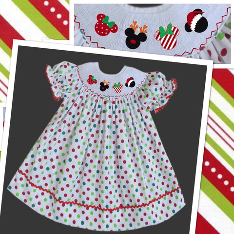 Mouse Christmas Head Smocked  Bishop- PRE SALE SHIP BY BEGINNING OF NOVEMBER