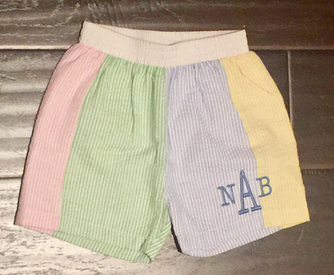 Seersucker Tri Color Boy Shorts / Swim Trunks - (Green Blue Pink Yellow)