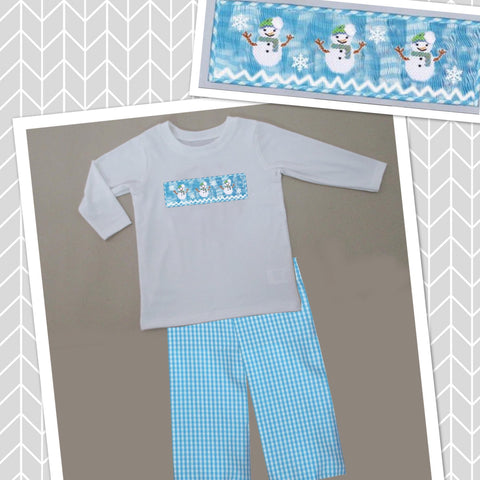 Blue and White Check Snowman Pant Set - PRE SALE SHIP BY BEGINNING OF NOVEMBER