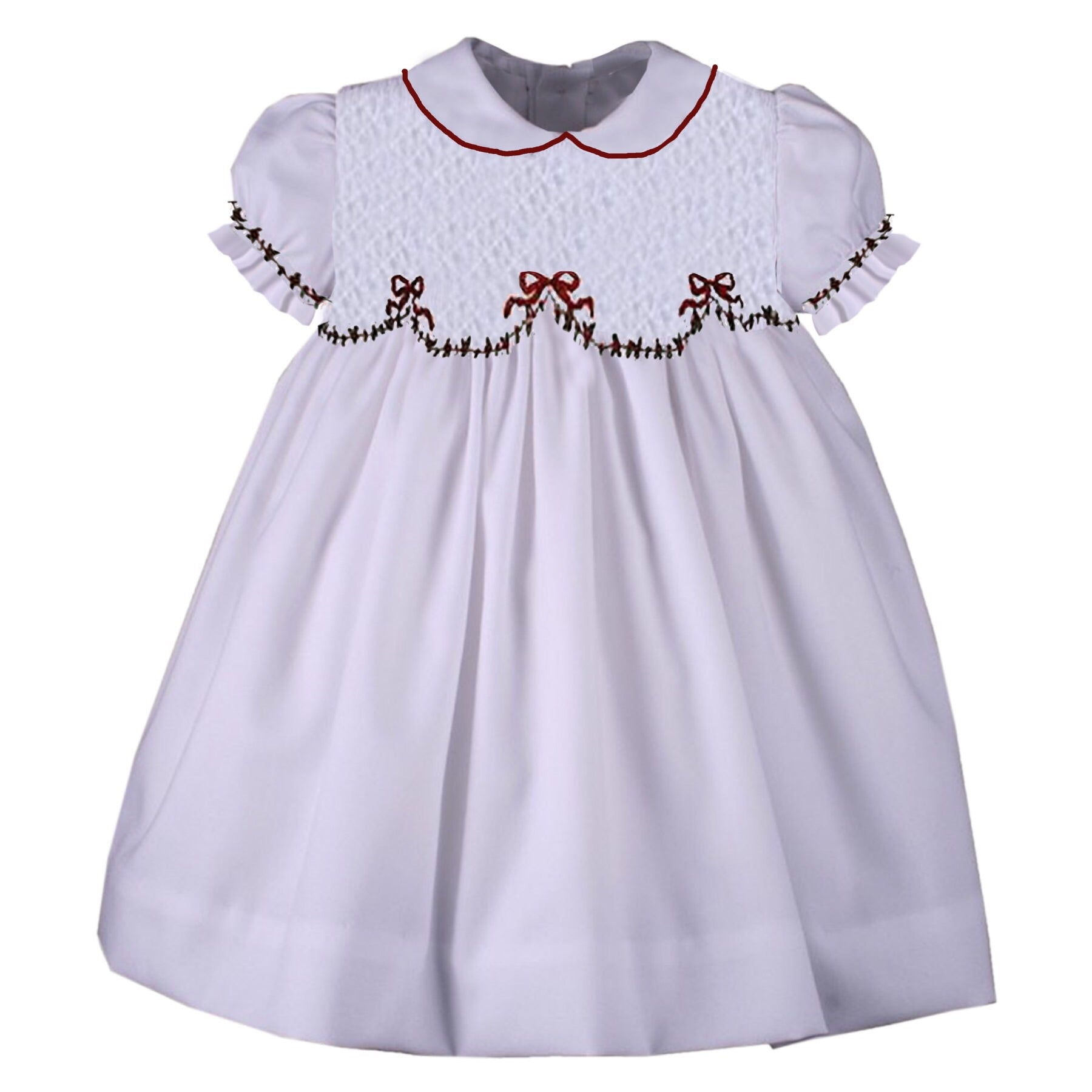 6cace5cb7 White Smocked Holiday Bow Dress - Ready to Ship – Smocked Blessings