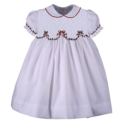 White Smocked Holiday Bow Dress - Ready to Ship