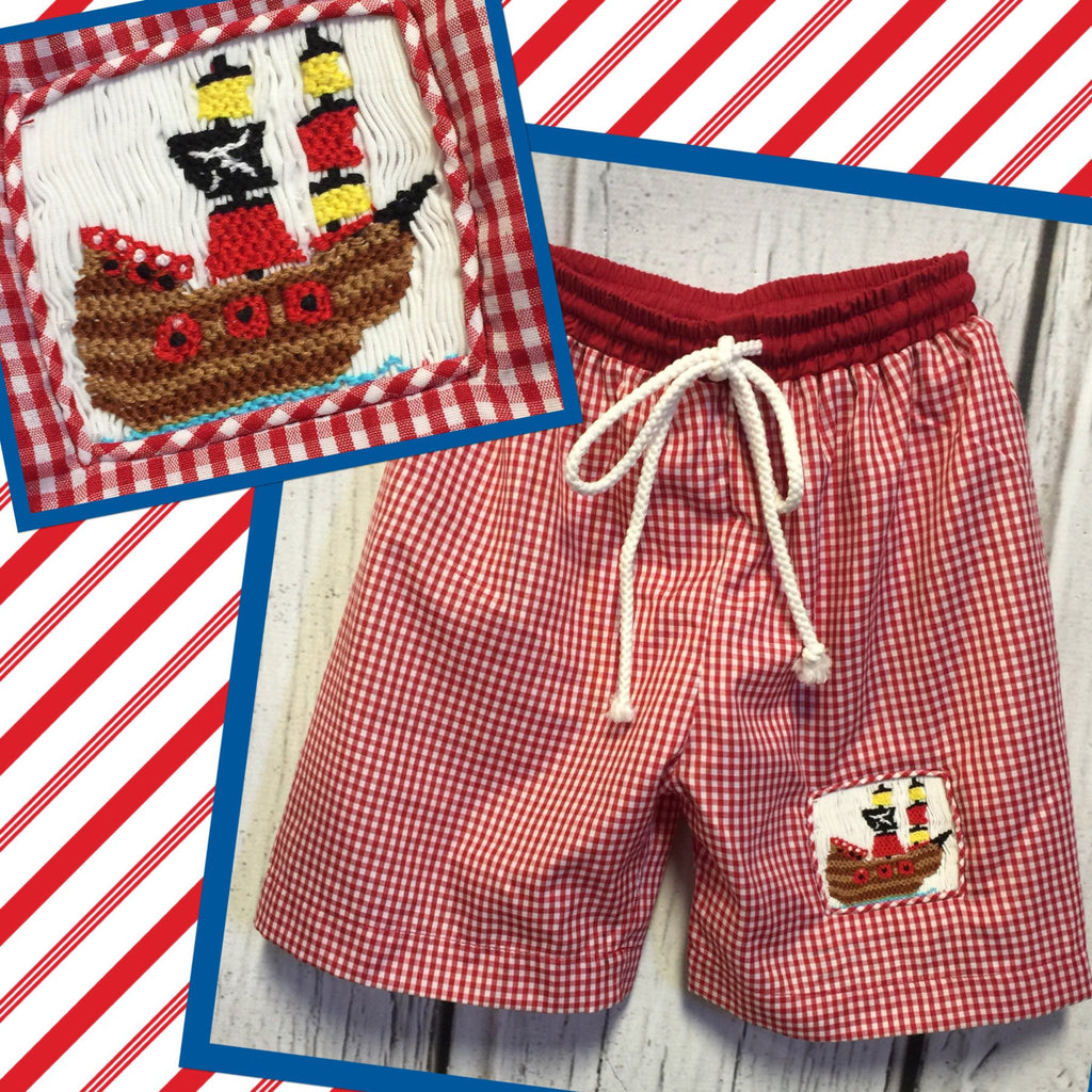 Pirate Smocked Swim Trunks