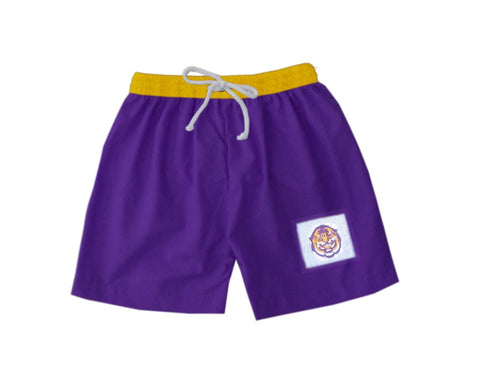 Purple and Gold Tiger Boys Swim Trunks