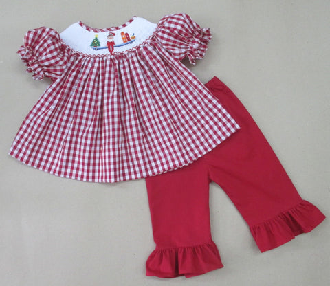 Elf Smocked Girls Pant Set -