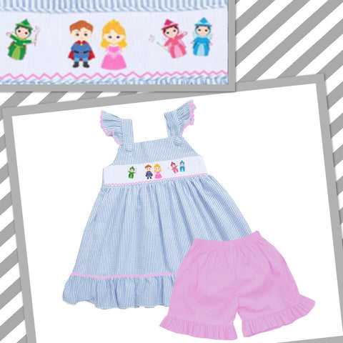 Sleeping Beauty Inspired Seersucker Smocked Short Set- PRE SALE SHIPS BY BEGINNING OF MARCH