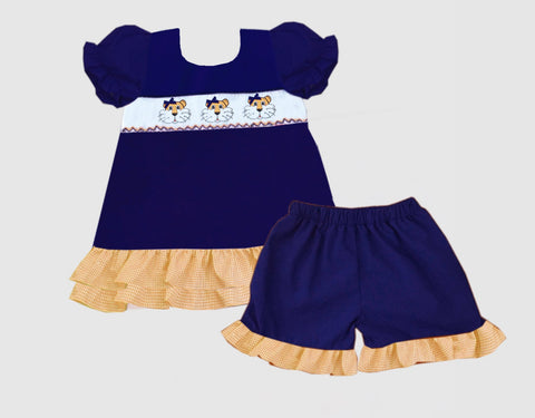 Orange and Navy Tiger Tie Back Smocked Short Set