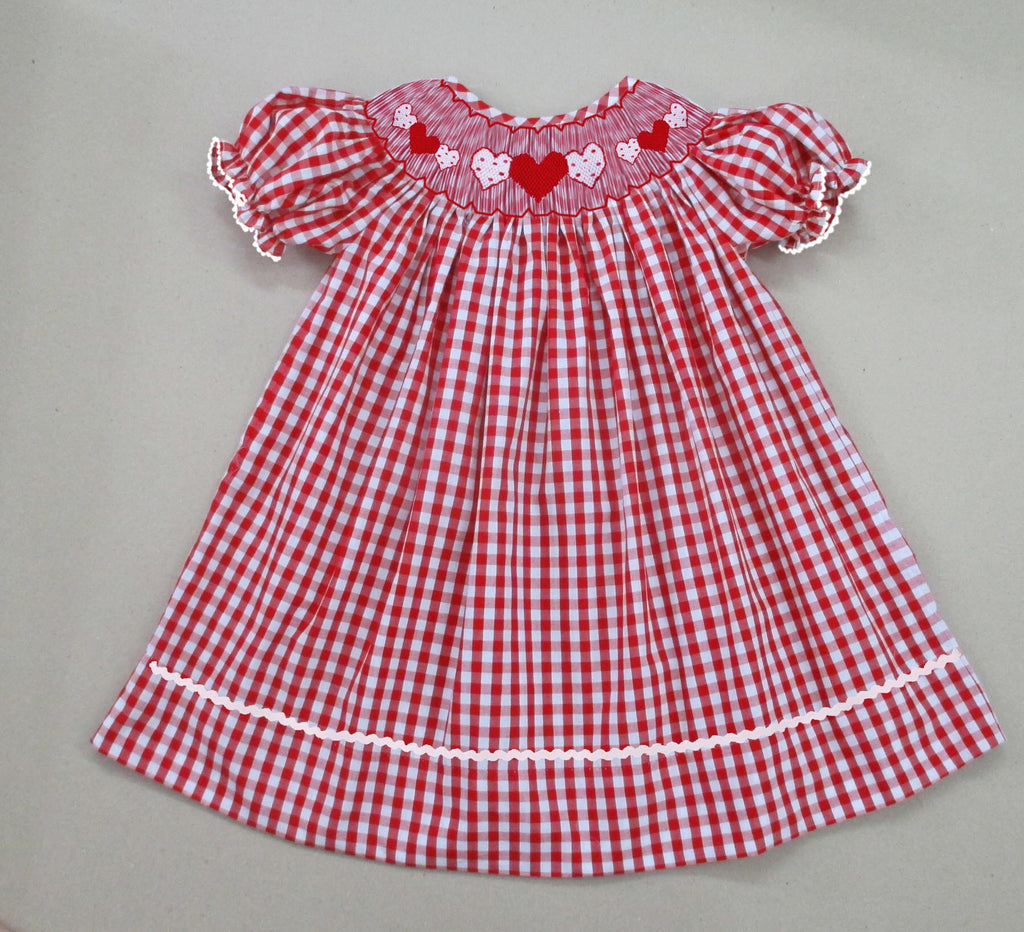 Red Check Heart Bishop Dress- Pre Sale Ships January