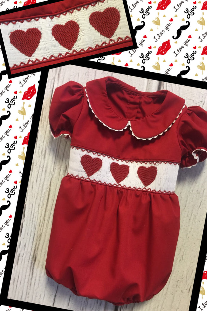 Copy of Heart  Red Smocked Collar Bubble