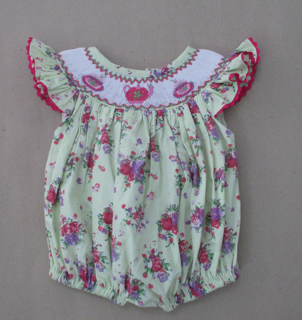 Tea Party Floral Smocked Bubble - Ready to ship
