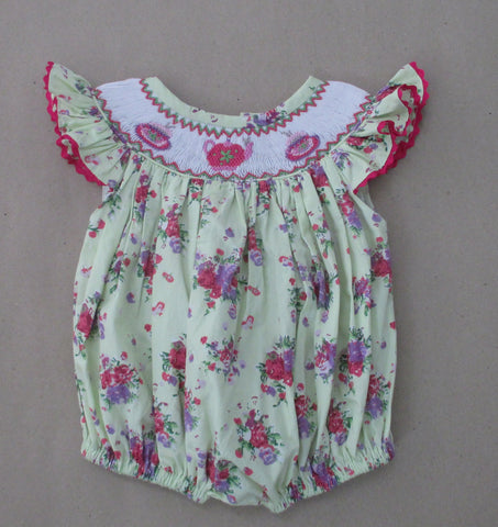 Tea Party Floral Smocked Bubble